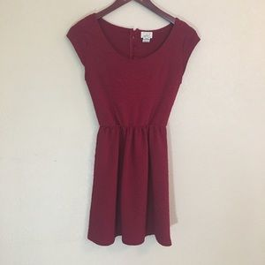 Red fit & flare small textured dress classic style